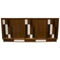 Brutalist Walnut and White Lacquer Credenza