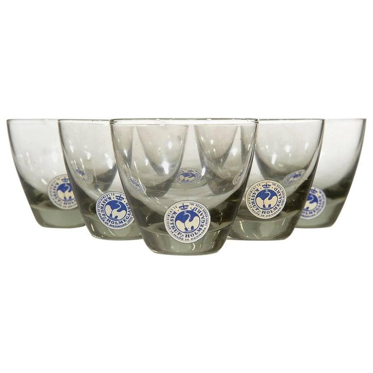 Holmegaard Smoked Glass Whiskey Tumblers, Denmark