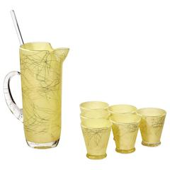 Mid-20th Century Yellow and Gold String Cocktail Set