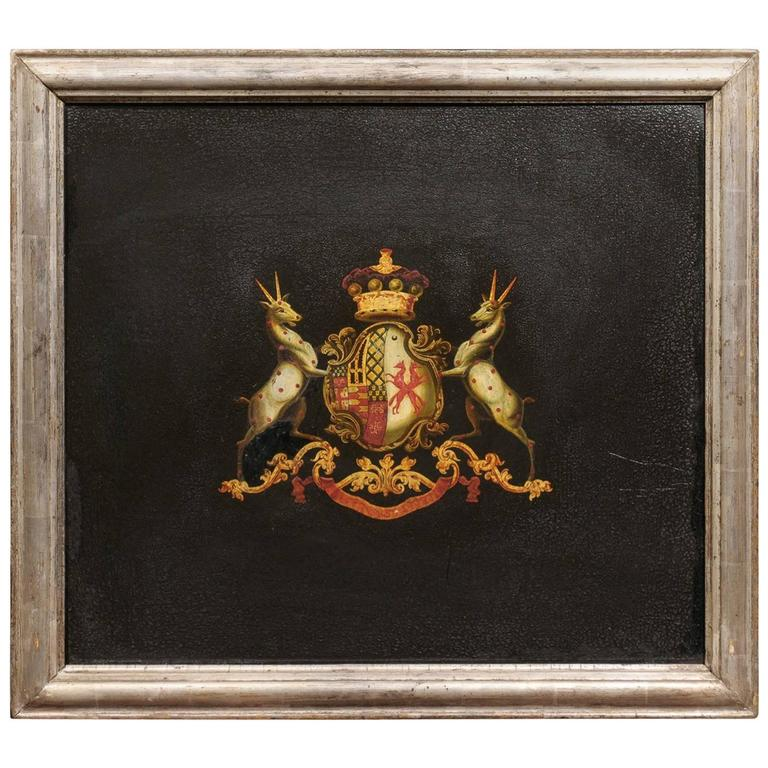 English Turn of the Century Antelope Coat of Arms Oil on Board Painting