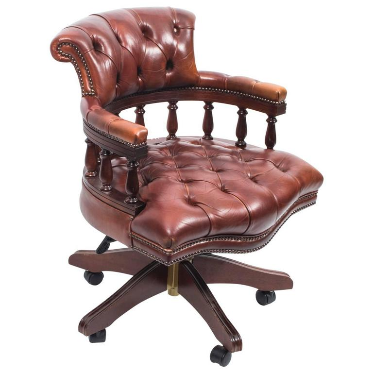 English Handmade Leather Captains Desk Chair Champagne For Sale At 1stdibs