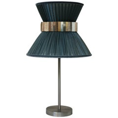 Tiffany contemporary table Lamp grey Silk, nickel Brass, Silvered Glass