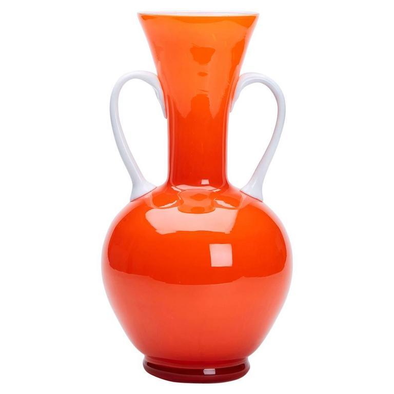 Vintage Italian Empoli Orange Cased Twin Handled Vase, 1960
