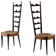 Paolo Buffa Pair of Mahogany Chiavari Chairs, Italy, 1950s