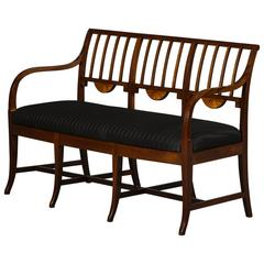 Empire Bench Made of Mahogany with Inlays of Light Wood