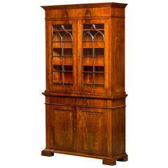 Late Empire Bookcase in Neo-Gothic Style Made of Cuban Mahogany