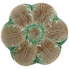 19th Majolica Chocolate Oyster Plate Luneville
