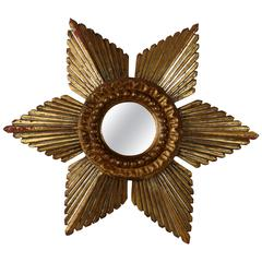 Sunburst Star Gilded and Silver Wood Mirror