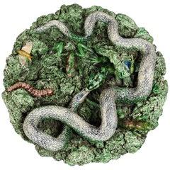 19th Majolica Palissy Snake and Lizard Wall Platter Jose Alves Cunha