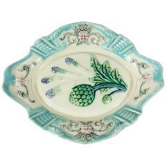 19th Centurty Majolica Asparagus & Artichoke Platter Fives Lille