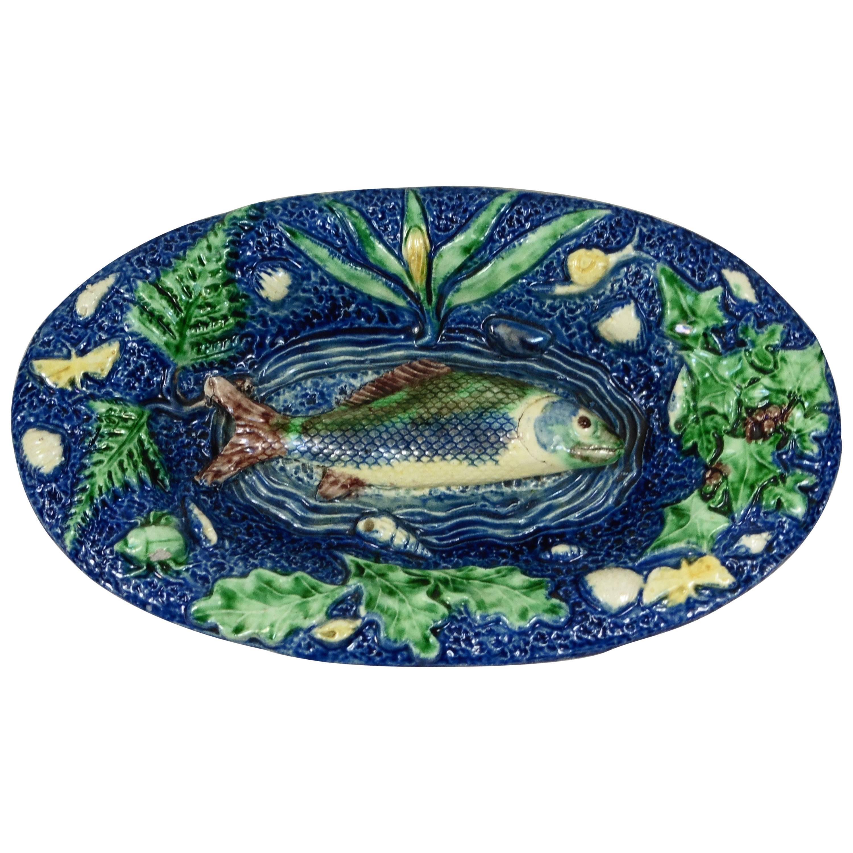 19th Century Majolica Palissy Fish Wall Platter
