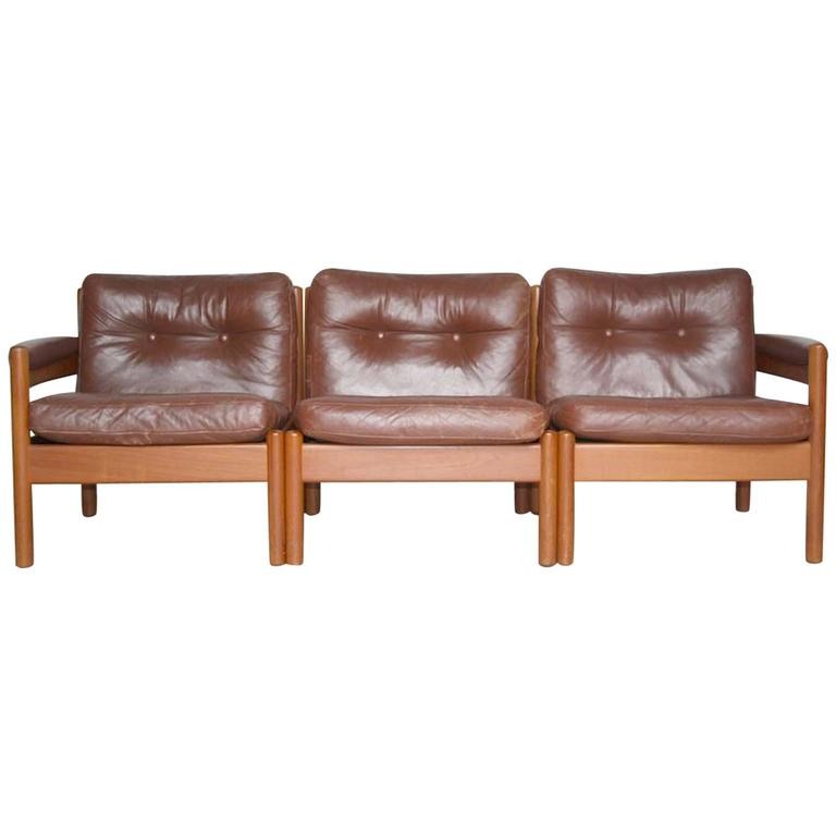 Lodge or Cottage Style Mid Century Scandinavian Leather