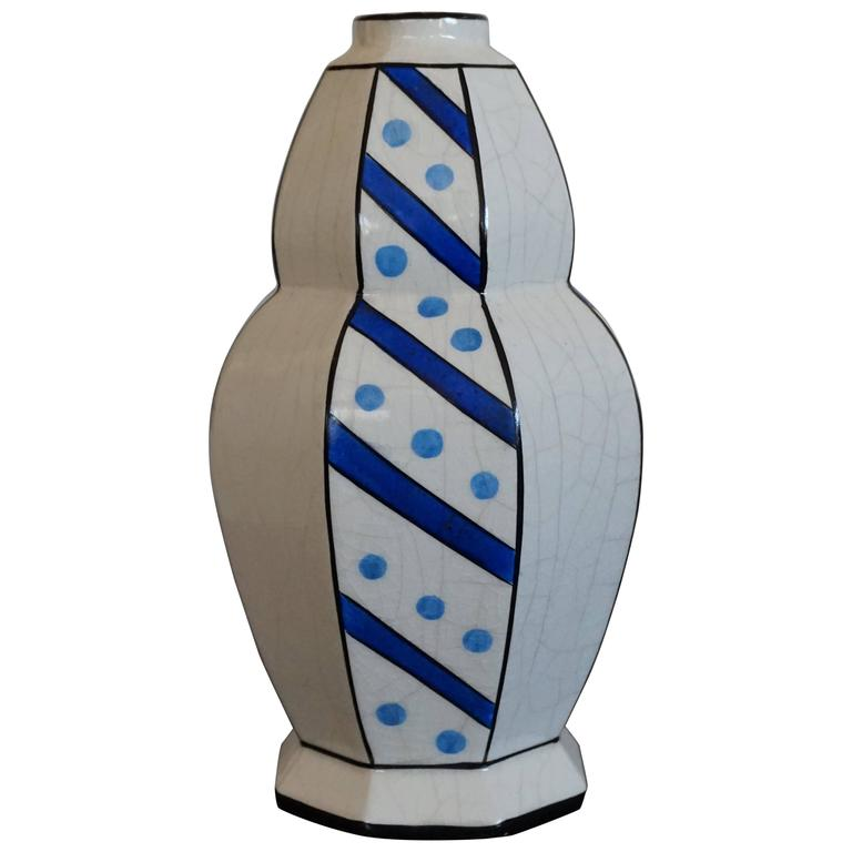 Glazed Art Deco Design Vase Attributed to Charles Catteau Blue Dotts and Stripes