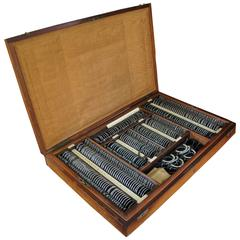 Magnificent Teak Wood Case with Optometrist Instruments for Eyesight Measurement