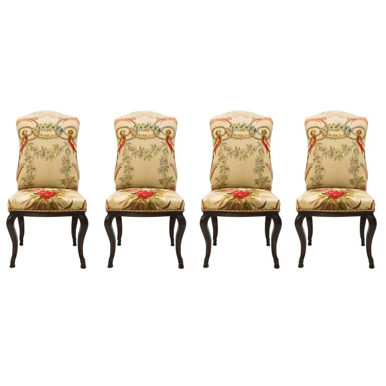 Louis XV Antique Chairs Coating with Aubusson Tapestry For Sale - Louis XV Antique Chairs Coating With Aubusson Tapestry For Sale At