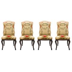 Louis XV Antique Chairs Coating with Aubusson Tapestry