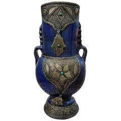 Cobalt Blue Moroccan Khamsa Vase