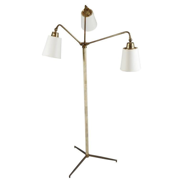 Three-Armed Brass and Bone Lamp 1