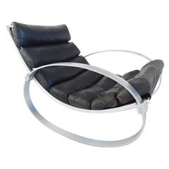 Hans Kaufeld Rocking Chair in Aluminium and Leather, Germany, circa 1970