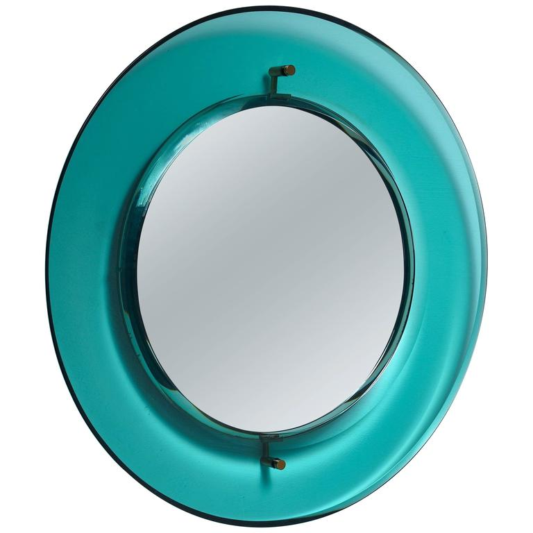 Early Luigi Fontana for Fontanit Glass Mirror in Green or Blue, Italy, 1950s
