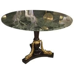 Italian Round Centre  Table with Green Marble-Top, circa 1962