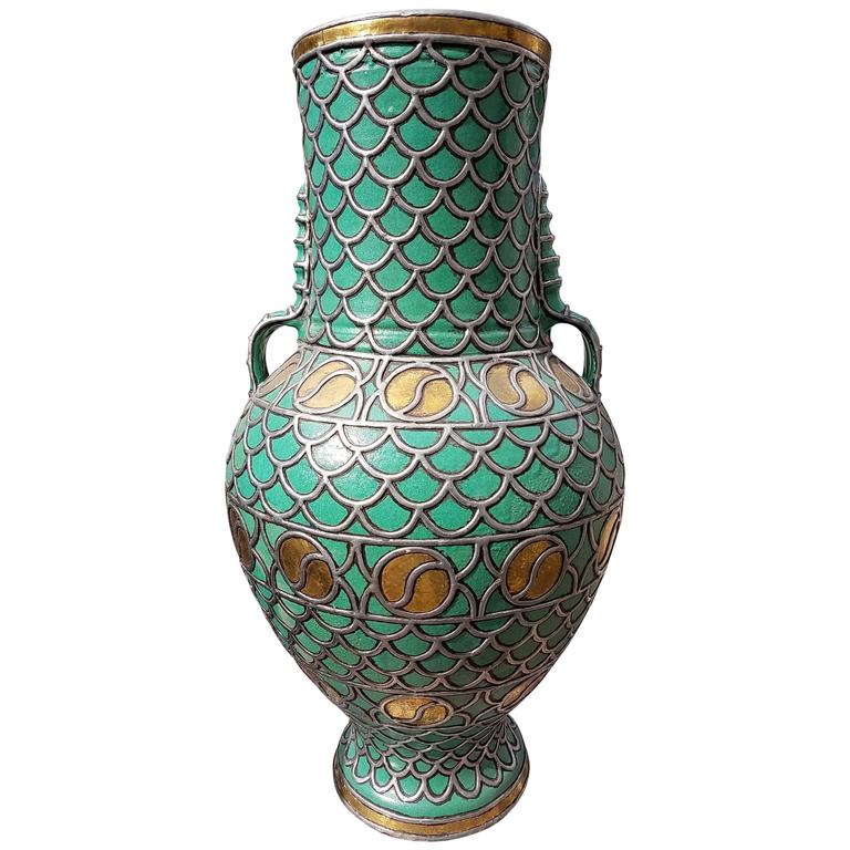 Large turquoise moroccan urn at 1stdibs - Large decorative vases and urns ...