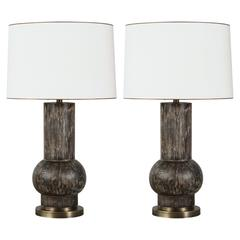 Paul Marra Rustic Modern Table Lamp, Pair