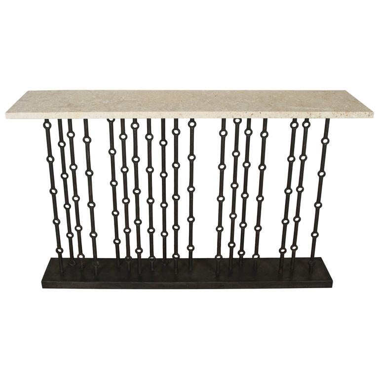 Paul Marra Iron Console with Coral Stone For Sale