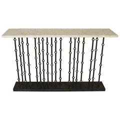 Paul Marra Iron Console with Coral Stone