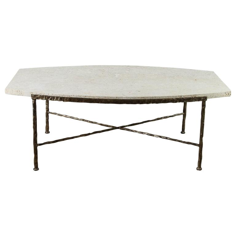 Paul Marra Ellipse Cocktail Table in Textured Gold Iron and Coral Stone 1