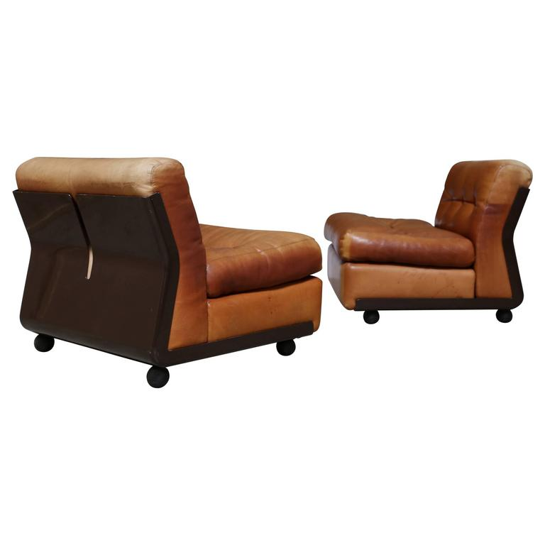 """Pair of Leather """"Amanta"""" Lounge Chairs by Mario Bellini"""