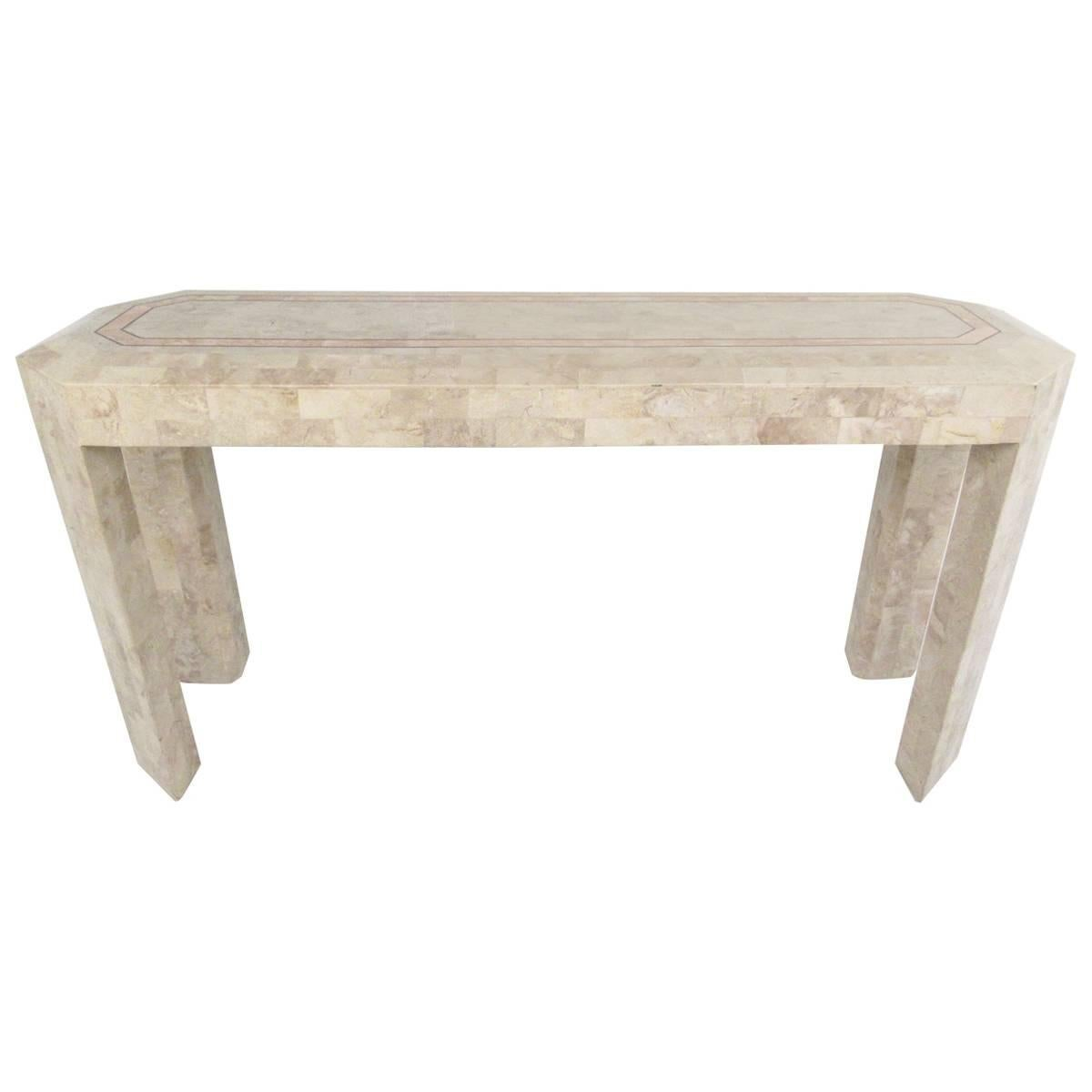 Tessellated Stone Console Table after Maitland Smith