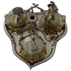 Sterling Silver Gilt Victorian Inkstand London 1847 Robert Hennell