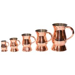 Run of Five English Copper Whiskey Measures