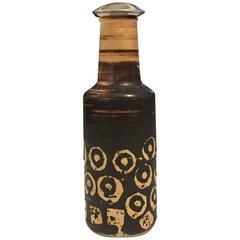 Ceramic Bottle or Vase with a Cork, Germany 1950s, Lava Glaze