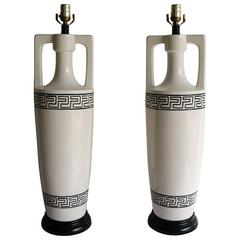 Pair of Art Deco, Hollywood Regency Style Table Lamps in Black and Off-White