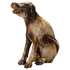 A Philippine Mottled Brown Painted Wood Carving of San Roque's Dog