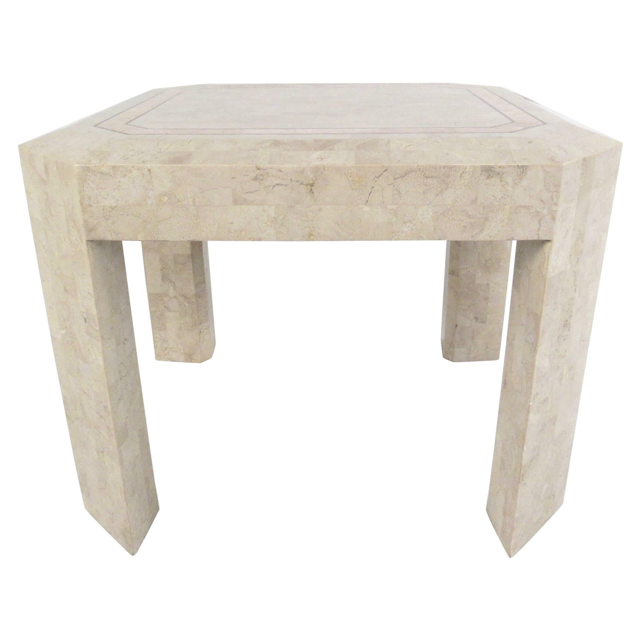 Tessellated Stone End Table after Maitland Smith