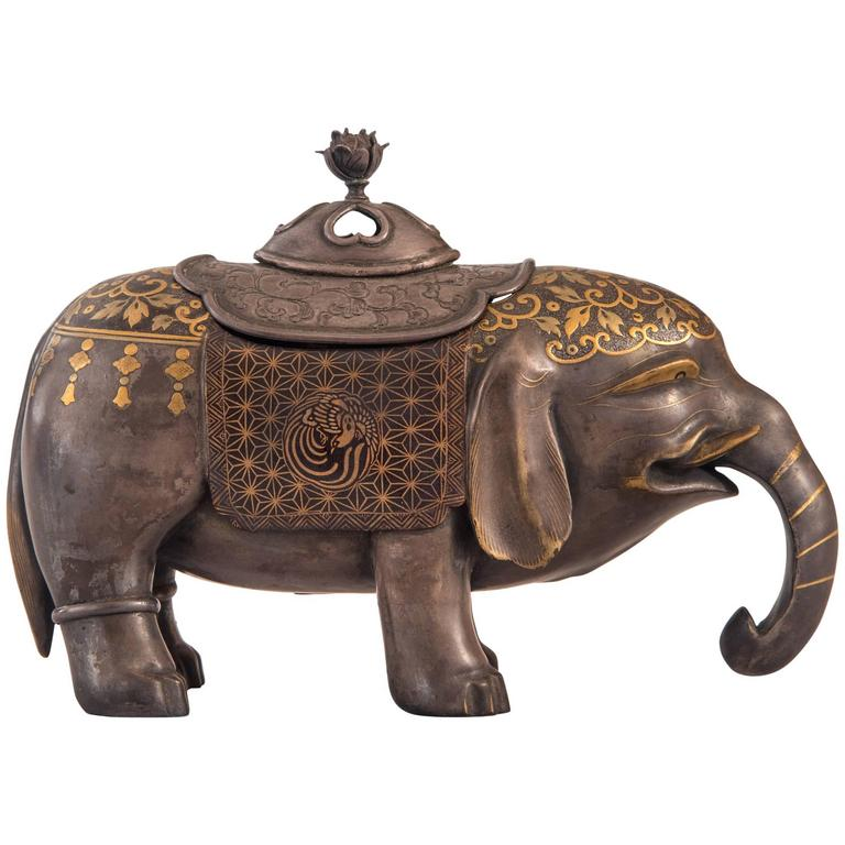 A Japanese Lacquer Incense Burner in the Form of an Elephant, Signed