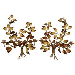 Matched Pair of Italian Tole Candle Sconces