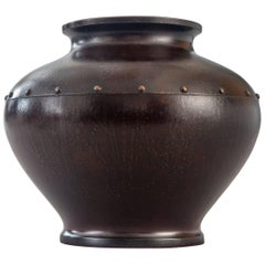 Japanese Bronze Vase Decorated with a Ring of Studs