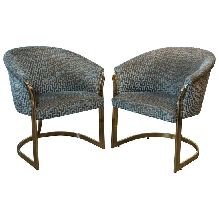 Cantilevered Brass Club Chairs in the Style of Milo Baughman