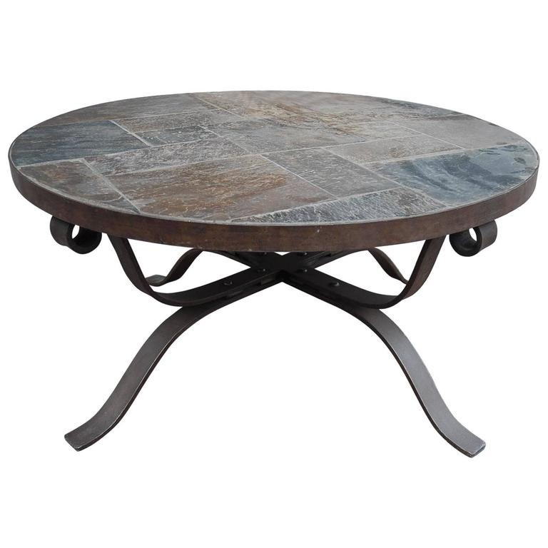 Paul Kingma Style Wrought Iron And Slate Round Coffee Table For