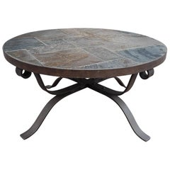Midcentury Wrought Iron and Slate, Round Shape Coffee Table or Cocktail table