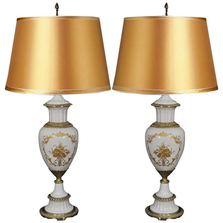 Pair Of Sèvres French Hand Painted Porcelain Urn Form Table Lamps White U0026  Gold For