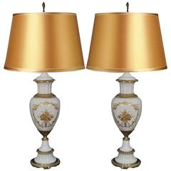 Pair of Sèvres French Hand-Painted Porcelain Urn Form Table Lamps White & Gold