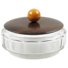 Art Deco Macassar Crystal Bakelite Decorative Cookie Box Candy Jar, 1930s