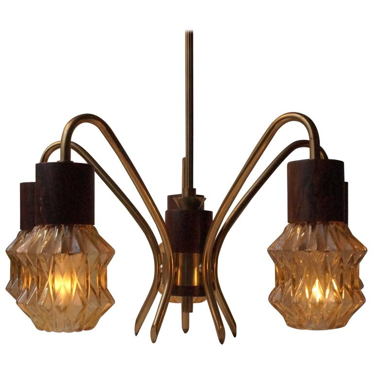 Mid-Century Danish Rosewood, Brass and Glass Spider Chandelier, 1950s For Sale