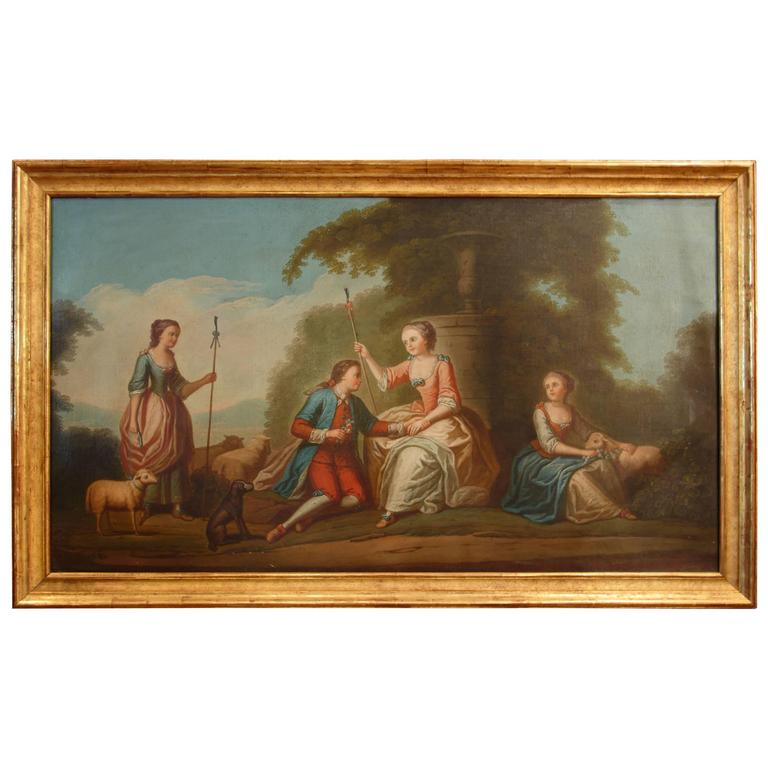 Antique French Oil Painting Romantic Portrait Courtly Love