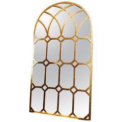 French Antique Gilt Pier Mirror Architectural Church Window